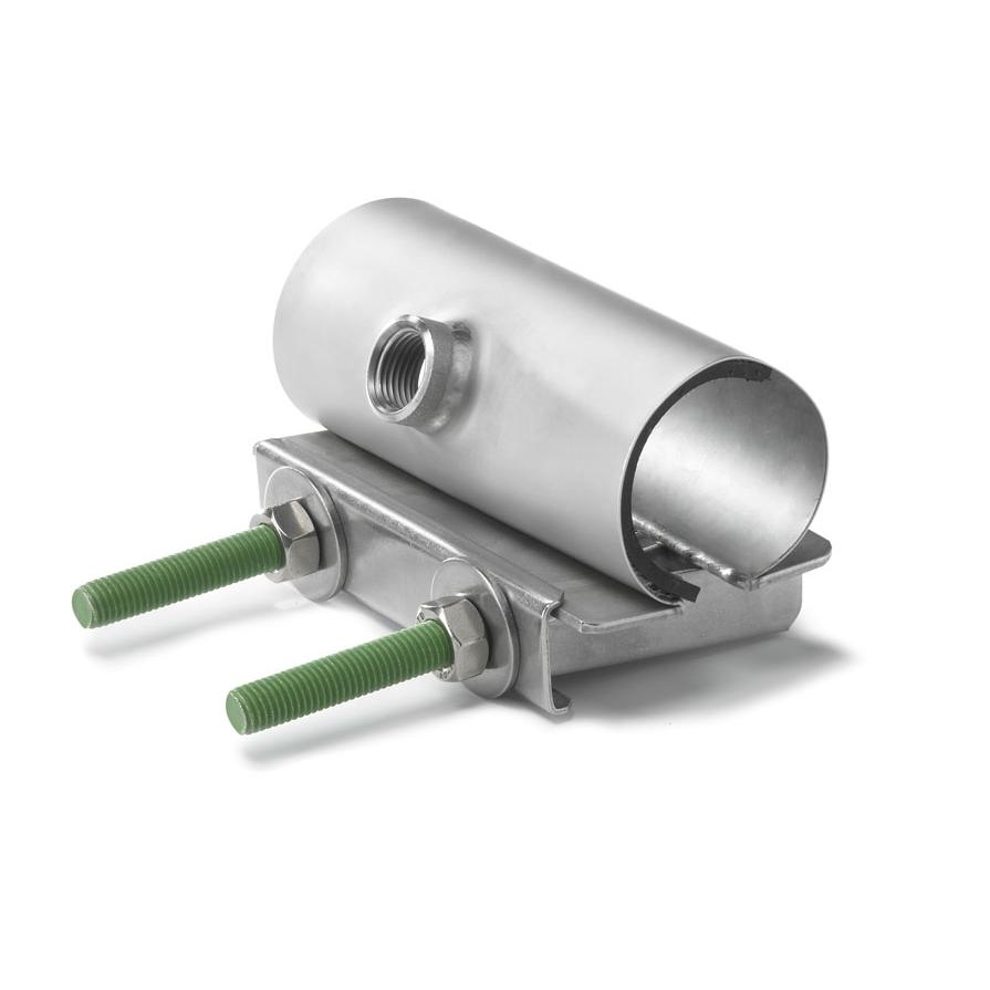 Одноленточные хомуты с резьбовым выходом длиной 100-200 мм для труб диаметром 120-131 мм