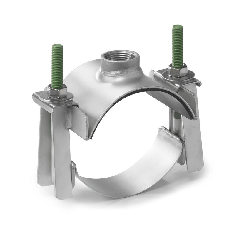 """Водозаборный хомут типа """"седло"""" для труб диаметром 356-378 мм, с выходом 1 1/2"""""""